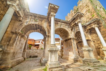 Hadrian's Gate is famous landmarks located in old town Kaleici district in popular resort city Antalya, Turkey