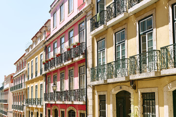 Lisbon, Portugal - September 2, 2019: traditional buildings at the streets of old city