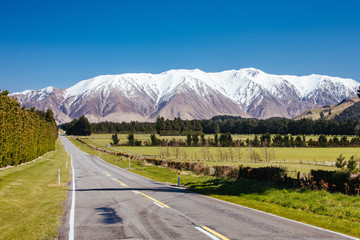 Mt Hutt View on a Sunny Day in New Zealand