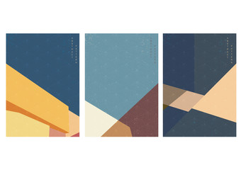 Building background with Japanese pattern vector. Minimal city landscape template with geometric elements.