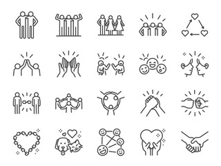 Friendship line icon set. Included icons as friend, relationship,buddy, greeting, love, care and more.