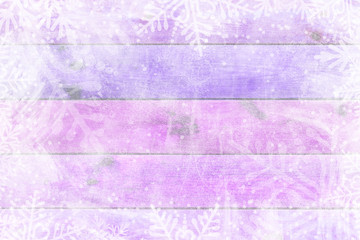 Purple wooden table, snowy winter background, texture