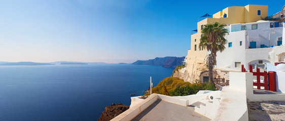 Beautiful view of famous romantic white town in Santorini Island, Greece
