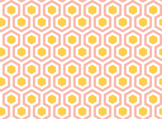 Yellow, Pink and White Hexagons Seamless Pattern. Vector Geometric Ornament. Simple Illustration Packaging and Wrapping