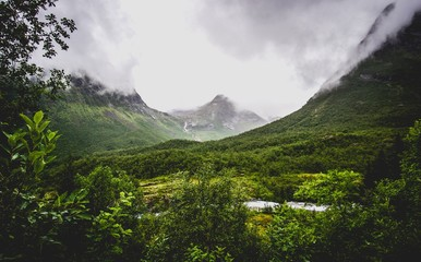 green mountain valley in norway