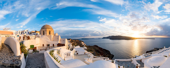Panorama Oia Village during sunset. Greece Santorini Island