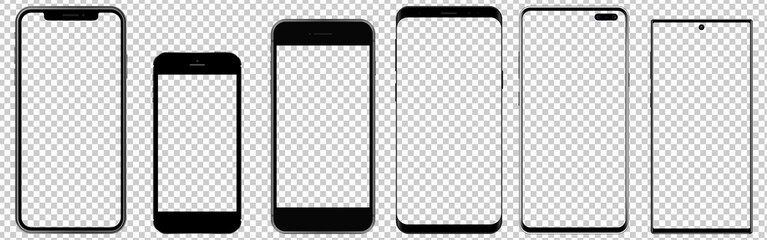 Realistic phones with transparent screens. Smartphone mockup. Vector graphic