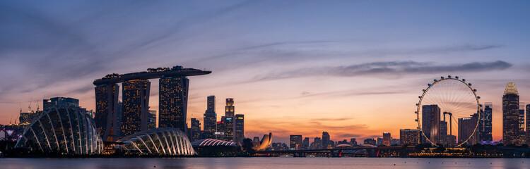 Szeroka panorama miasta Singapur
