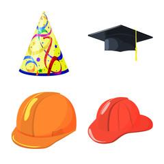 Vector illustration of headgear and napper symbol. Set of headgear and helmet stock symbol for web.