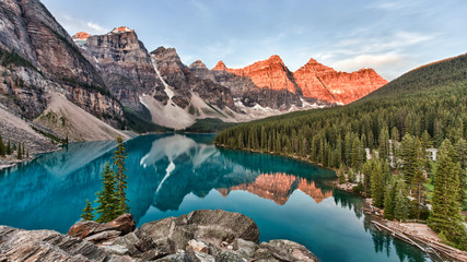 Moraine Lake in Banff National Park in Canada taken at the peak color of sunrise