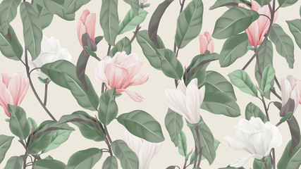 Floral seamless pattern, pink and white Anise magnolia flowers and leaves on light brown, pastel vintage theme