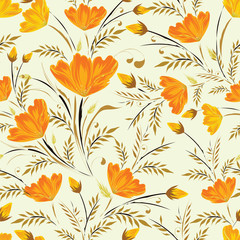 Floral pattern based seamless background decorated with orange flowers with watercolor effect.
