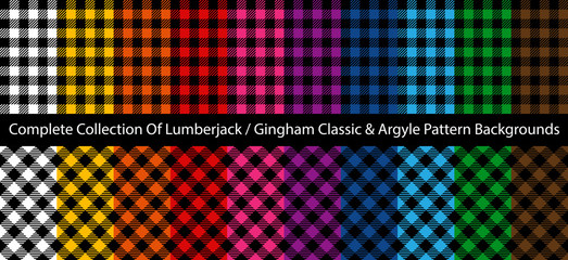 Complete Collection of Lumberjack / Buffalo / Gingham Plaid Patterns. Classic and Argyle decorative textile designs.