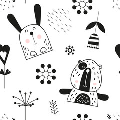 Seamless pattern with cute jungle animals - bear, hare in Scandinavian style. Vector Illustration. Kids poster for nursery design. Great for baby clothes, greeting card, wrapping paper.