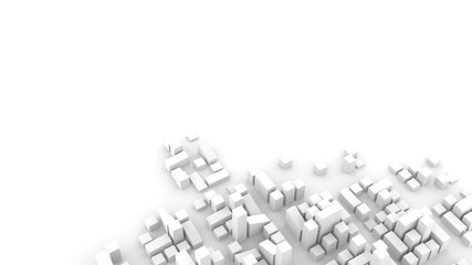 Modern urban environment, city planning concept. Abstract 3D render on white background.