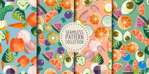 Trendy food seamless patterns collection. Good for leaflets, cards, posters, prints, menu, booklets