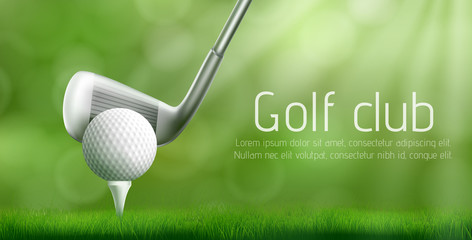 Golf club advertising banner template with putter under ball on tee pushed into golf course green lawn. Sport competition or tournament invitation flyer, promo poster 3d realistic vector illustration