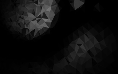 Dark Black vector polygon abstract backdrop. A completely new color illustration in a vague style. Triangular pattern for your business design.