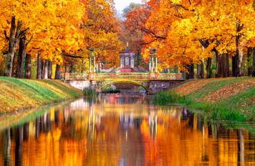Przecinający most i chińczyków mosty w Aleksander parku w jesieni, Puszkin (Tsarskoe Selo), St. Petersburg, Rosja