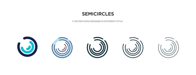 semicircles icon in different style vector illustration. two colored and black semicircles vector icons designed in filled, outline, line and stroke style can be used for web, mobile, ui