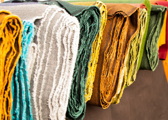 Rolls of clothes made for medieval clothing different colors_
