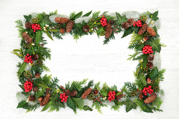 Natural winter and Christmas background border with holly and a variety of flora and fauna on rustic wood background with copy space.