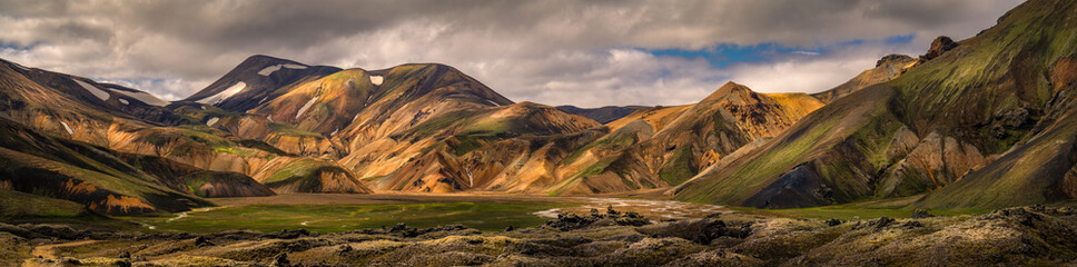 Beautiful landscape view of landmannalaugar mountain