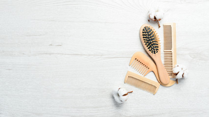Wooden hair brushes. Hair Care. Makeup.