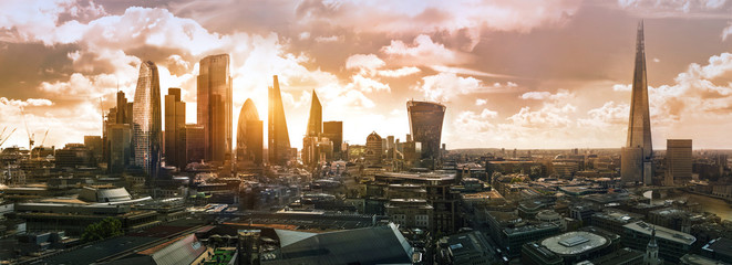 City of London at sunset. Modern skyscrapers of the financial area. UK, 2019
