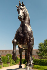 Bronze  statue of moving Horse in park in Prague, Czech republic. Travel to Europe. Medieval art.