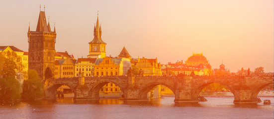 Prague sunset architectural view, Czech Republic. Charles bridge panoramic view.