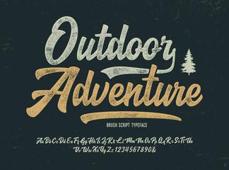 Vintage Brush Font. Retro Typeface. Vector Illustration.