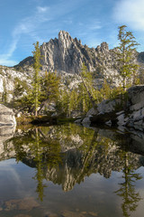 Prusik Peak and pond reflection in the Enchantment Lakes, Washington State, USA
