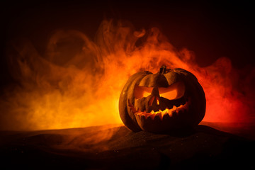 Halloween pumpkin. Traditional holiday decoration. Useful as greeting card