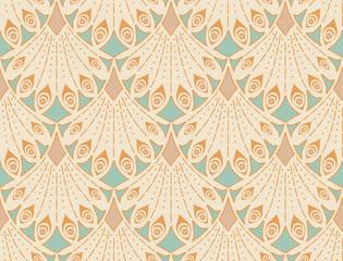 Art nouveau seamless pattern in pastel colors. Vintage elegant background