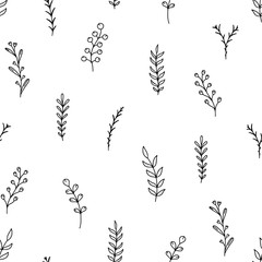 Doodle seamless botanical pattern. Sketch vector illustration. Different contour herbs on white background for textile design. Simple floral hand drawn isolated elements for organic product packaging