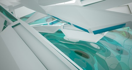 Abstract white interior with water and window. 3D illustration and rendering.