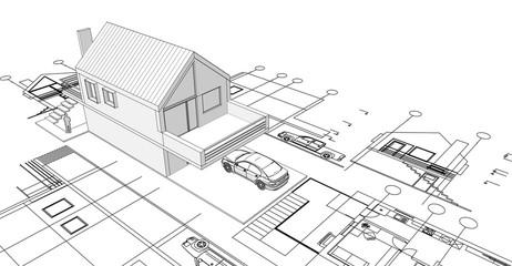 modern house sketch 3d illustration