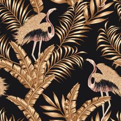 Golden bird flamingo gpld leaves seamless black background