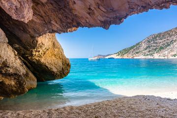 Famous Myrtos beach in Kefalonia island, Greece.