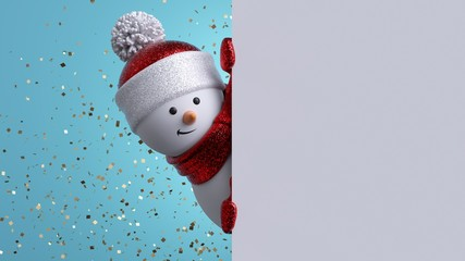 Christmas greeting card template. 3d snowman holding blank banner, looking at camera. Winter holiday background with gold confetti. Happy New Year mockup with copy space. Funny festive character.