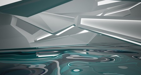 Abstract white interior with water and neon lighting. 3D illustration and rendering.