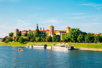 Wawel castle and Vistula river in Krakow, Poland