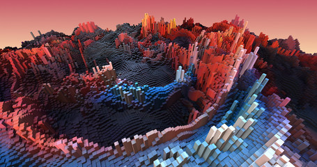 Abstract Aerial View Of 3D Metropolitan City. Complex Cube Shapes Forming Modern City. Technology And Industry Related 3D Illustration Render