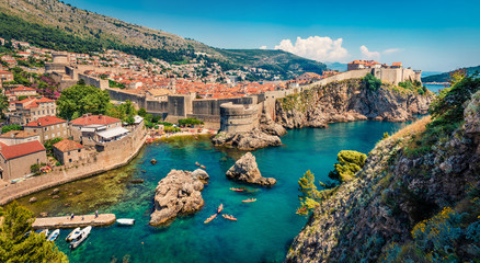 Picturesque morning view of famous Fort Bokar in city of Dubrovnik. Panoramic summer scene of Croatia, Europe. Beautiful world of Mediterranean countries. Architecture traveling background.