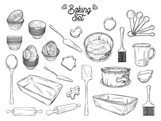 Set of dishes for baking. Baking stuff Vector illustration