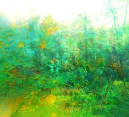 koncepcja sztuki podwójnej ekspozycji w przyrodzie. kolory lasu i jesieni