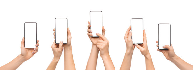 Woman's hands using smartphone with blank screen over white background