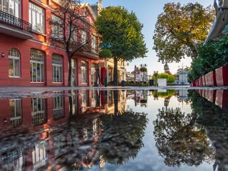 Piękna architektura Sopotu i Monte Cassino ulica przy rankiem, Polska. Październik.