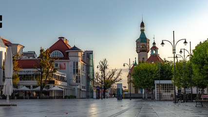 Beautiful architecture of Sopot with lighthouse and Monte Cassino street at morning, Poland. October.